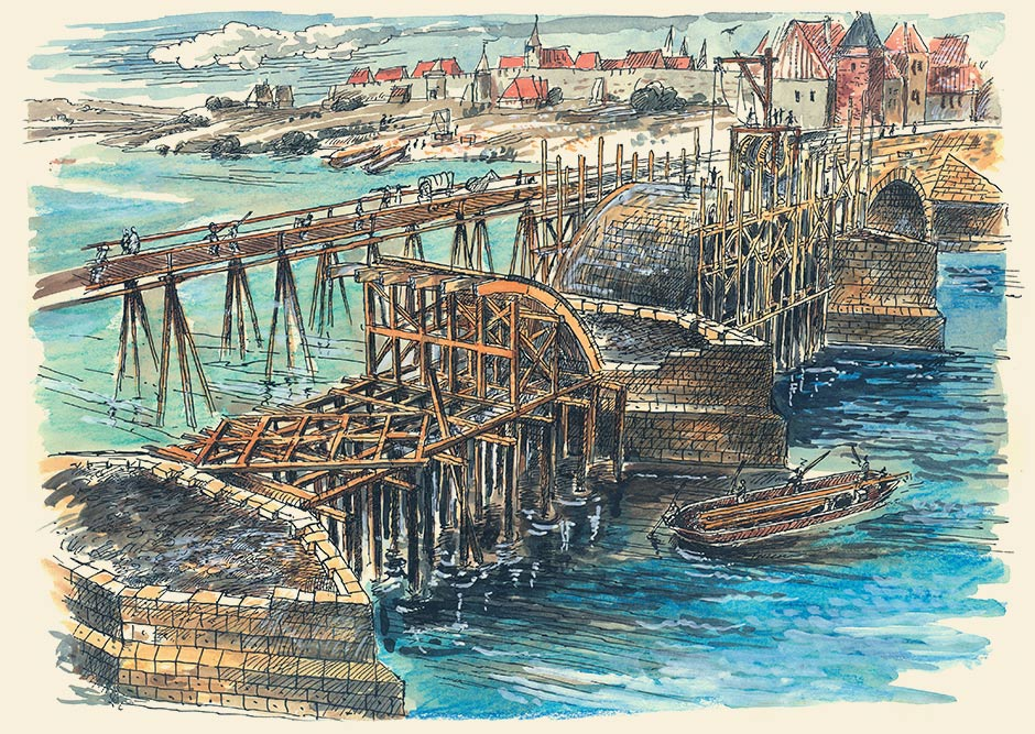 Vintage drawing of the Charles Bridge | Charles Bridge Museum